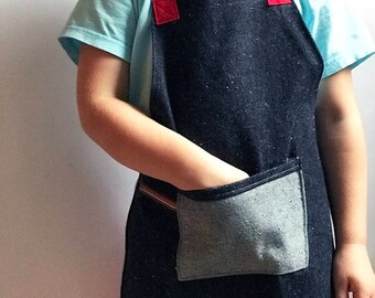 Kids Denim Apron, Speckled Denim, Red Twill Ties, Zero Waste,  Childrens Craft Smock, Toddler, Tracey Toole, Back to School