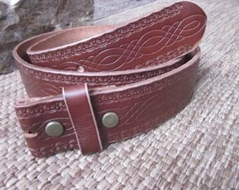 small (32) vintage tooled belt strap brown belt strap  genuine cowhide leather snap belt strap 1.5 inch belt strap mens belt women's belt