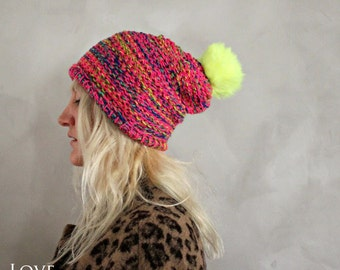 Neon Pom Pom Beanie / Hot Pink Neon Yellow Pom Pom Hat / Womens Knit Beanie / Fur Pom Pom Beanie / Fur Pom Pom Hat/ Gift for Her Womens Gift