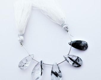 Tourmalinated Quartz Faceted Briolettes Gemstone Beads Qty 5  - TQ2