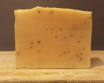 "Litsea Cubeba & Poppyseed Artisan Soap - Cold Process, Scented with Essential Oil - Smells Like ""Lemons On Acid"""