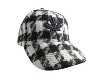 Canadian Black Maple Leaf 3D Puff Embroidery Black and White Buffalo Check Plaid Checkers Structured Adjustable Fashion Baseball Cap