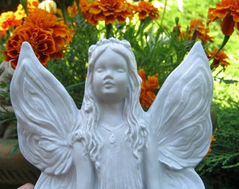 Fairy Statue, Meditating Fairy, Sun Worshipping Fairy, Garden Fairy, Flower Pot Faerie, Garden Fairy, Pixie Girl, Garden Statue Decor, Pixy