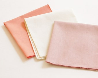 Linen pocket squares; pink, dusty rose, ivory, natural and many more