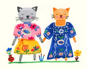 Cat friends with pink sweater and blue dress