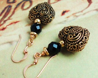 Heart Earrings in Antiqued Brass, Black Onyx, 14K Gold Filled Earwires, Gift Under 25 USD for Her, Wife, Mom