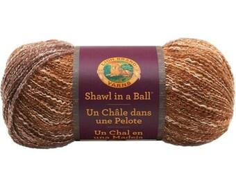 Shawl in a Ball Metallic Namaste Neutrals Lion Brand Self Stripping Yarn