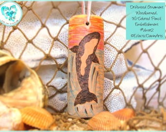 Killer Whale Driftwood Art Ornament, Pyrography and Pencil, #DWOR2