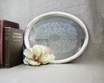 Shabby Oval Silver Plate Tray / Oval Silverplate Tray / Cottage Chic Silver Plate Tray