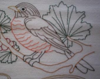 Michigan Robin Embroidered Tea Towel, Michigan Robin Embroidered Flour Sack Towel, Michigan State Bird Towel, Michigan Towel