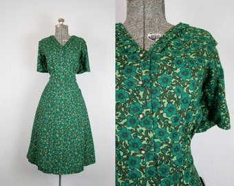 1950's Deadstock NOS Green Floral Day Dress / Size XLarge