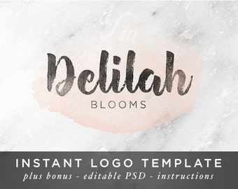 Watercolor Logo - Handwritten Logo - Instant Download - Photoshop Template - Pink Logo - Pink Watercolor Stain - Rustic Logo - Brush Font 6