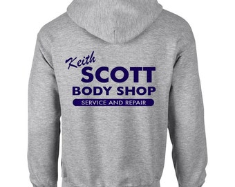 Keith Scott Body Shop One Tree Hill Inspired Adult Grey Hooded Sweatshirt With Print on Rear Only Hoodie