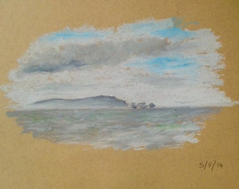 Isle of Wight. A4. Oil Pastel on Recycled Paper. Homemade and finished frame included.