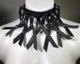 Woven Black Leather Choker