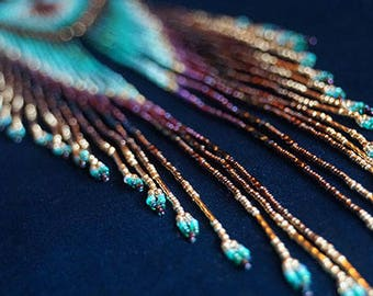 """Maui Swan Designs """"Golden Cascading Feathers"""" Long Seed Bead Earrings with 14K Gold filled Beads"""