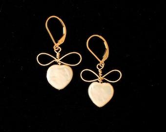 Pearl Hearts & Bows Earrings