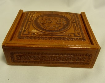 Vintage Tooled Leather/Wood Box, Leather Jewelry Storage Box for Rugged Man on Your List, Gift for Him