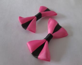 2 cute bows pink and black satin 37 x 25 mm
