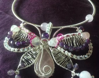 HANDMADE SILVER wire & beaded BUTTERFLY necklace