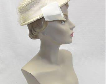 1960s Vintage White Cellophane Straw Boater or Sailor Hat