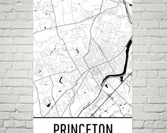 Princeton Map, Princeton Art, Princeton Print, Princeton NJ Poster, Princeton Wall Art, Princeton Gift, Map of Princeton, Princeton Decor