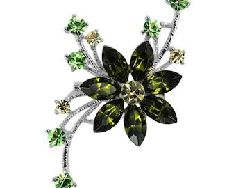 Austrian Crystal Flower Brooch Pin green / Free Gift Box(MIBR140-GN)