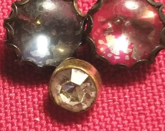 "Three miscellaenous glass ""jewel"" buttons"
