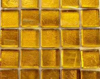 """15mm (3/5"""") gelb Gold metallischen Folie gesichert Glas-Mosaik-Fliesen / / Mosaik Stück / / Mosaik-Zubehör"""