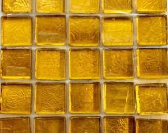 "15mm (3/5"") Yellow Gold Metallic Foil Backed Glass Mosaic Tiles//Mosaic Pieces//Mosaic Supplies"