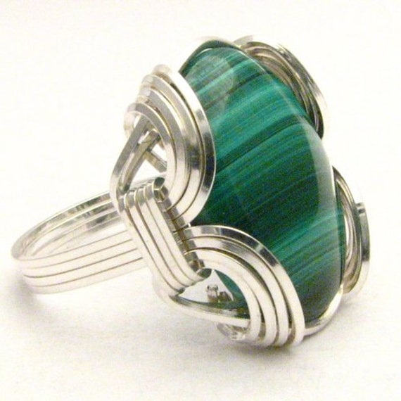 Wire Wrapped Ring, Handmade Ring, Sterling Silver Ring, Wire Wrap Ring, Malachite Ring, Green Ring, Cabochon Ring, Gemstone Ring, Old School