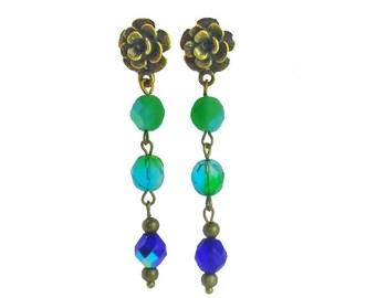 Green forest beaded earrings, Green and blue beads earrings, Long drop beaded earrings, Bronze rose earrings