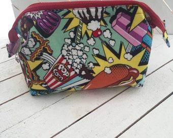 Pop Art, Junk Food, Snacks, Make Up Bag, Retreat Bag, Cosmetic Bag, Bag, Storage Bag, Toiletry Bag, Storage, Zipper Bag
