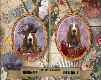 Basset Hound Jewelry. Basset Hound  Pendant or Brooch. Basset Hound Necklace. Basset Hound Portrait. Custom Dog Jewelry by Nobility Dogs.