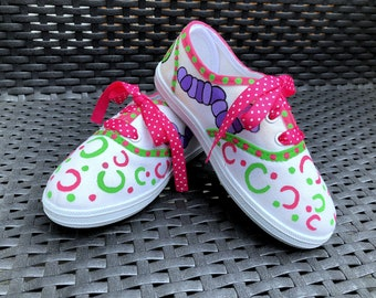 C is for Caterpillar Hand Painted Little Girl Sneakers/Funny Caterpillar Art/OOAK Girls Sneakers/Colorful Caterpillars/Toddler Sneakers