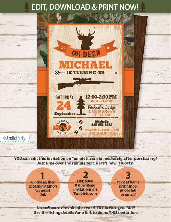 Hunting party invitations hunting birthday party invitation filmwisefo