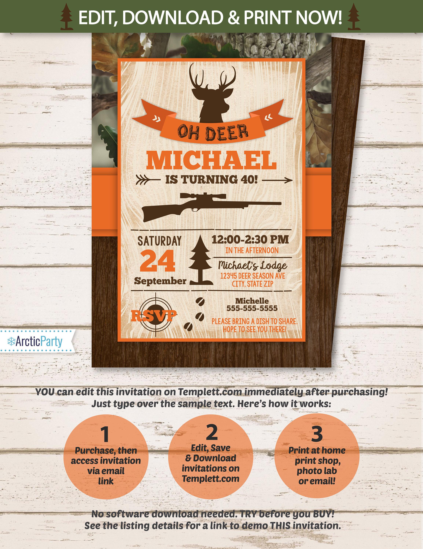 Hunting Party Invitations Hunting Birthday Party Invitation
