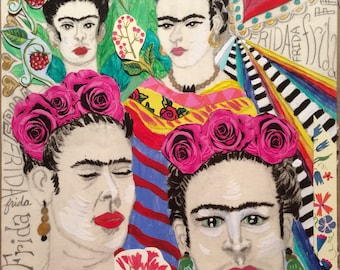 Faces of Frida - original mixed media painting collage on cardboard - fine art framed