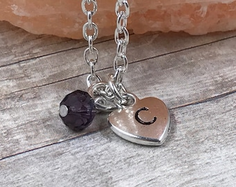 Simple Initial Heart Necklace with Birthstone Crystal - Custom - Personalized - Mother - Grandmother - Gift - Mother's Day - Jewelry