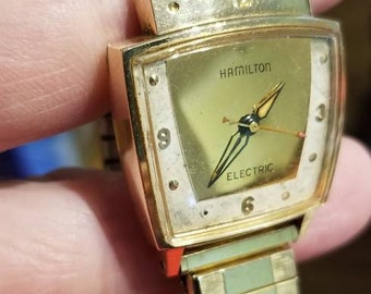 Vintage 10k gold filled Hamilton Electric..untestested read..selling as parts or repair