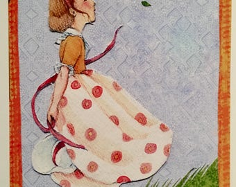 """Set of 6 """"Who Has Seen the Wind?"""" blank Notecards, 4 1/4 x 5 1/2inch"""