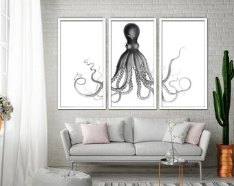 Octopus Triptych, Octopus Nautical Art Print, Lord Bodner's Octopus, Black and White Octopus Wall Art, Nautical Art Octopus, Giant Octopus