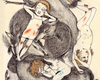 Wolf Children Illustration Print