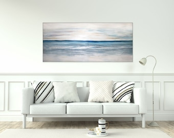 Large Ocean Abstract Canvas Art/ Seascape Original Abstract Acrylic Painting On Canvas Coastal Wall Art Textured White Blue Living Room Art