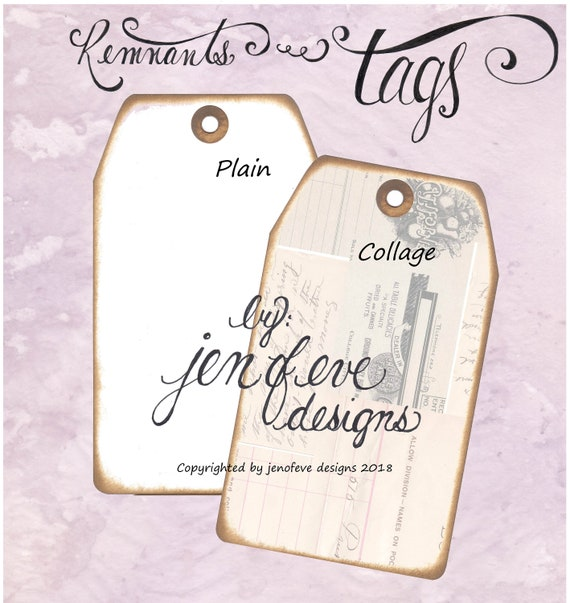 Build ~A~ Bellishment Remnants ~ Tags in Collage & Plain