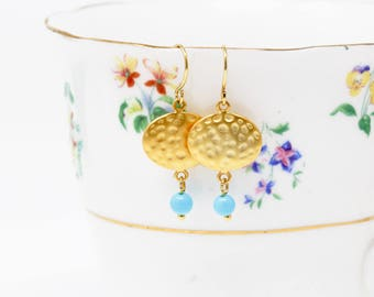Mothers Day Gift - Hammered Gold Earrings - Goft For Women - Turquoise Dangle Earrings - Beaded Earrings - Blue Earrings - Gold Earrings