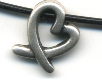 Heart Pewter Charm 14mm X 18mm, 2mm hole to accomodate cords 1.8mm to 2mm, lot of 12.