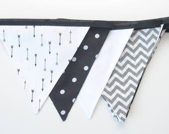 Monochrome Bunting | Black and White Children's Bedroom | Nursery Decor | Children's Party Decorations | Geometric Fabrics
