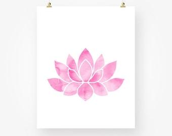 pink lotus flower water lily download floral girl room nursery wall art decor jpeg watercolor yoga poster printable digital instant download