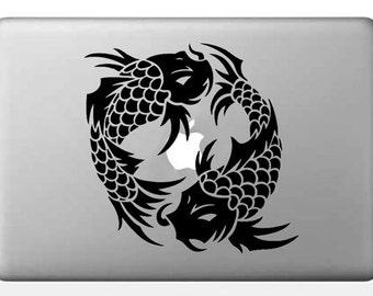 Macbook Decal Sticker  Koi Fish Laptop Decal Sticker  Japanese Vinyl Decal  Tattoo Art Sticker  Spiritual Car Decal